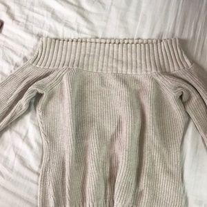 Knit Off Shoulder Sweater (Beige)